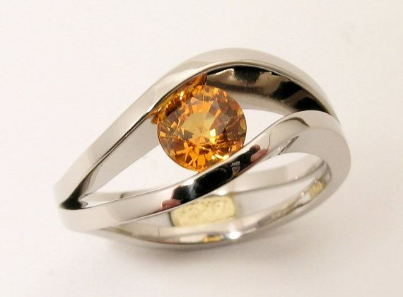 1 carat Orange Sapphire channel tension set in hand made 18k white gold double sea wave series Engagement Ring