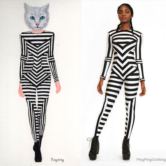 8a26b9de2cb Black and White Striped Print Catsuit Spandex Jumpsuit Unitard Bodysuit  Graphic Pattern Stripes
