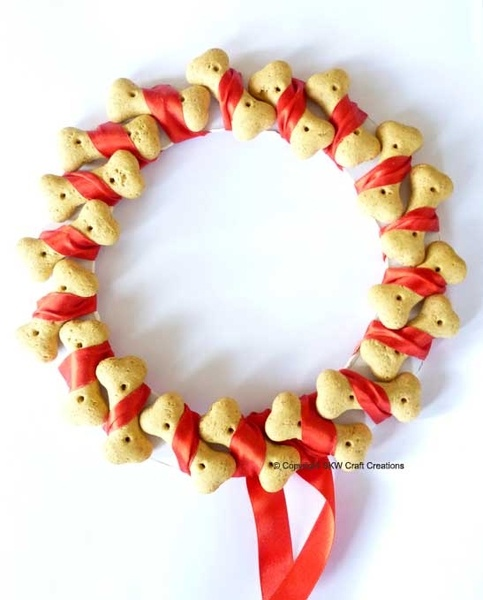 Image detail for -Dog Bone Christmas Wreath - (Red Ribbon) - SKW Craft Creations