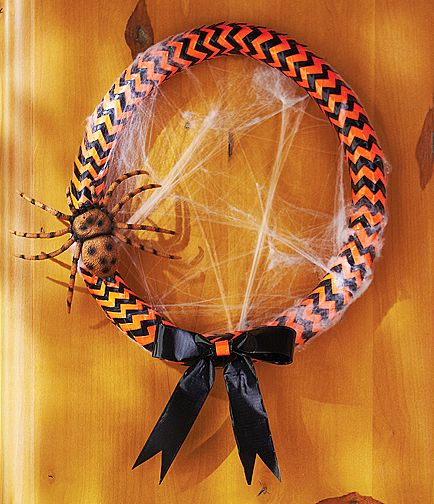 Colorful duct tape is the magic ingredient in this clever DIY Halloween wreath. Click through for the step-by-step instructions for this duct tape project for Halloween... on The Home Depot Blog.