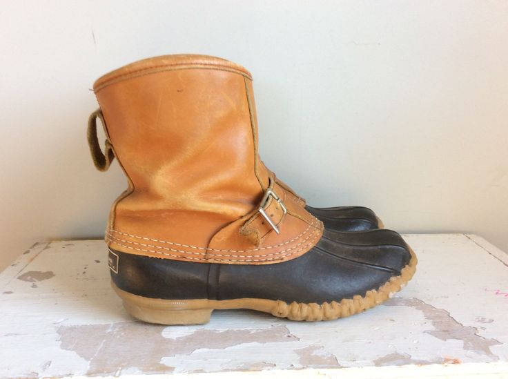 Vtg LL Bean Lounger Duck Boots // Mens Size 8 // Womens Size 9 9.5 // Maine Hunting Strap and Buckle Boots by BerkshireJules on Etsy