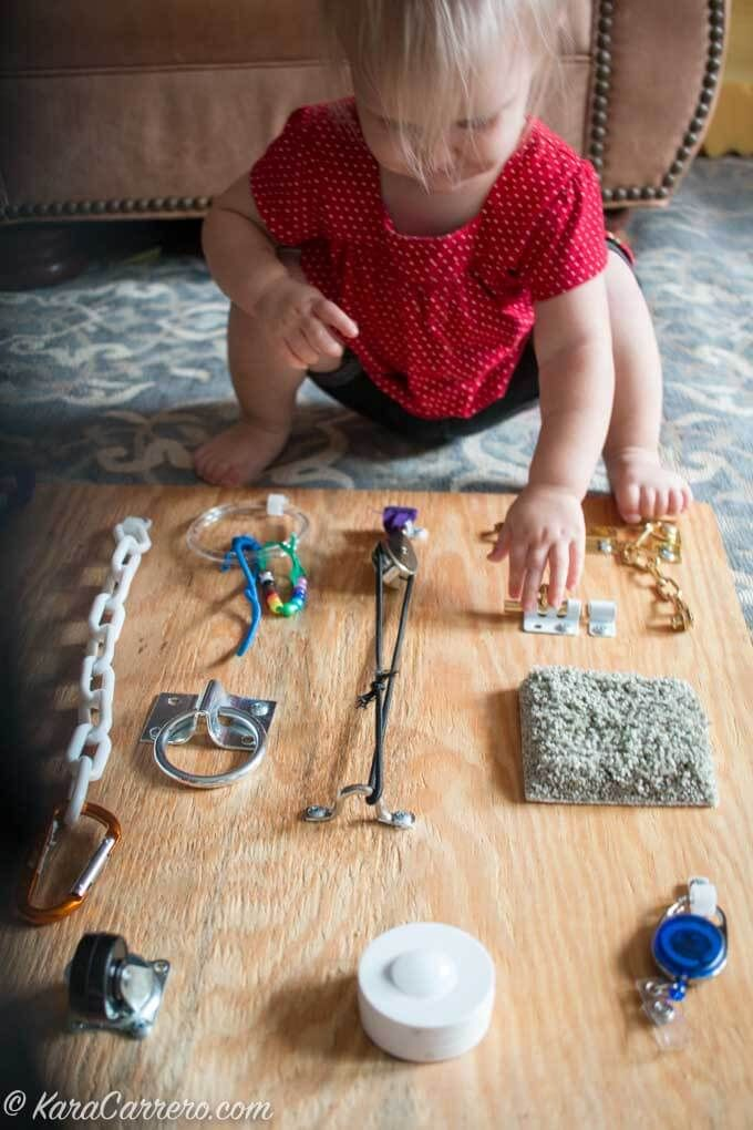 How to make a latch board for children of all ages who are kinesthetic and tactile learners. Great for sensory input, fine motor skills, and cognitive development.