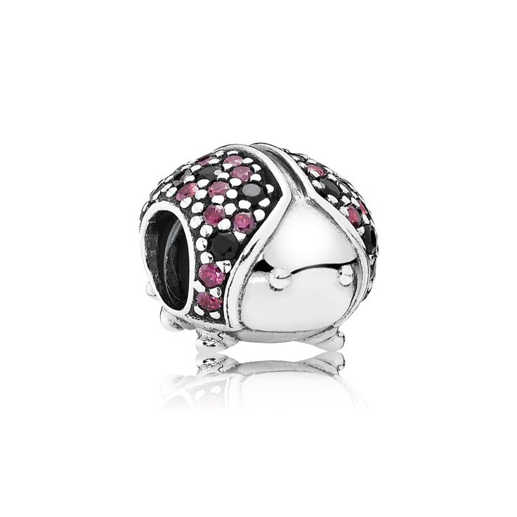 Ladybird pave silver charm with fancy red cubic zirconia and bla $60.00  $41.98