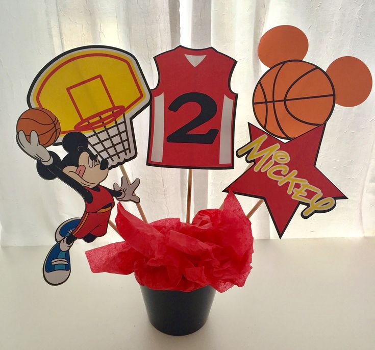 5 Piece Basketball Mickey Mouse Centerpiece, Mickey Mouse Centerpiece, Mickey Mouse Birthday Decor, Basketball Birthday Party, Sports Decor by LuluBellaCreations on Etsy