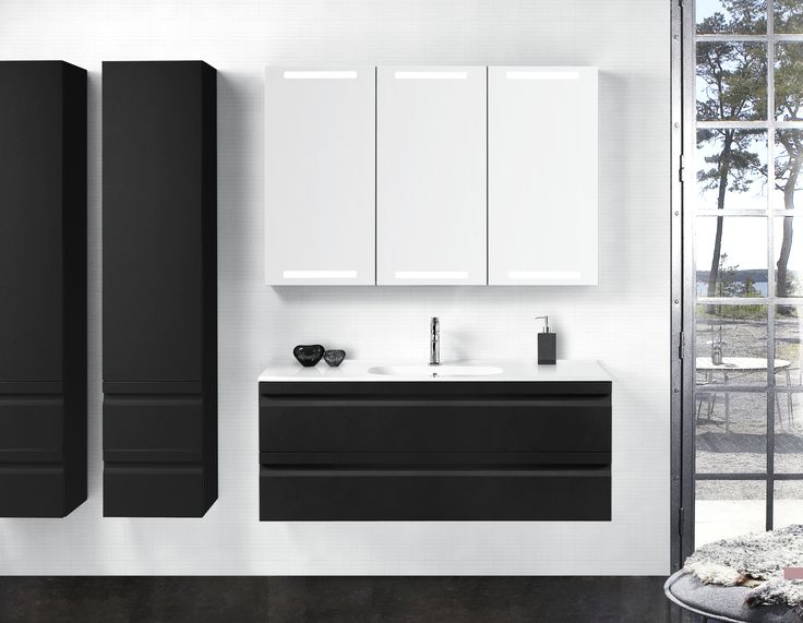 Clean lines in black and white with spacious Dansani Zaro bathroom furniture.