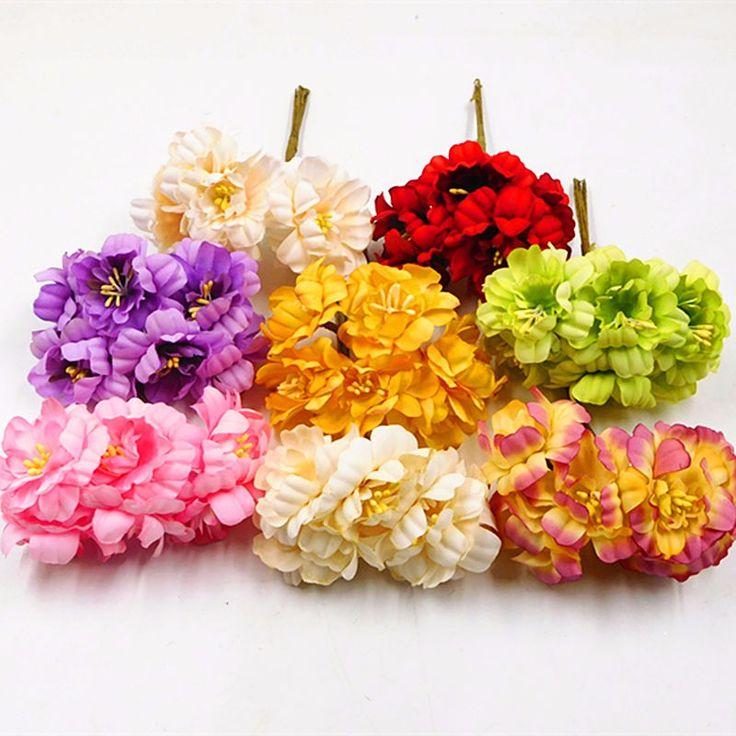 Hot sale 6pieces 5cm Artificial flowers silk Plum highland flower for DIY Scrapbooking wreath wedding decoration fake flowers
