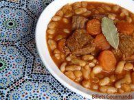 Loubia marocaine : la recette facile - Recette loubia marocaine. Ingrédients : carotte, oignon, tomate, haricot blanc, poivre, boeuf, ail, laurier, gingembre, olive, sel