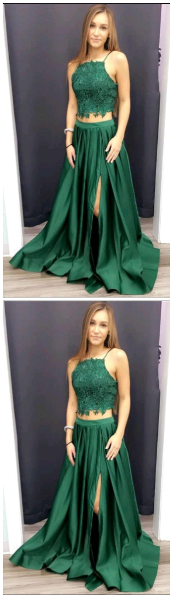 Spaghetti Straps Prom Dresses,Two Pieces Prom Gown,A-Line