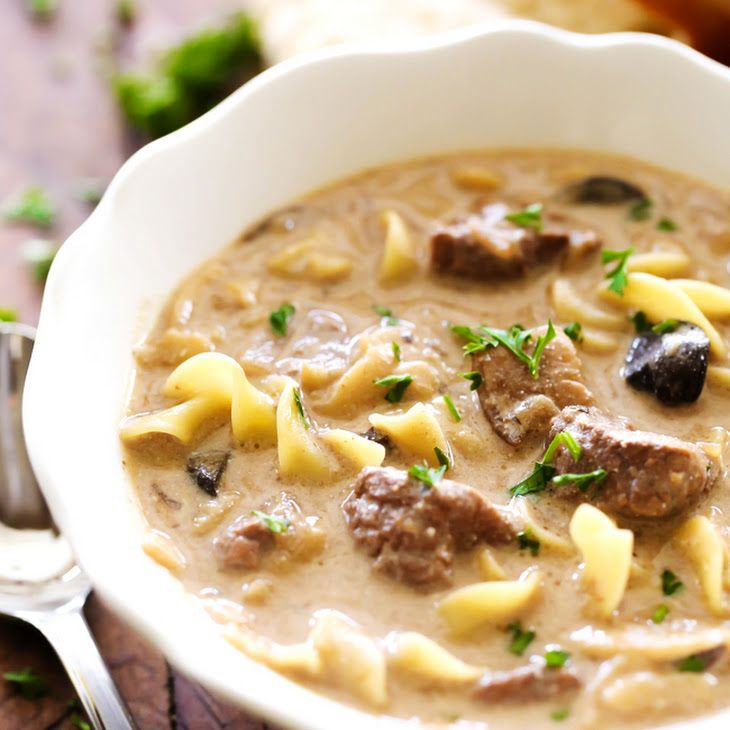 Beef Stroganoff Soup Recipe Main Dishes, Soups with stew meat, lipton onion soup mix, beef broth, worcestershire sauce, sliced mushrooms, egg noodles, sour cream