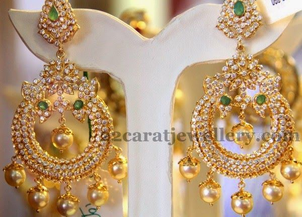 Colorful Chandbalis with Uncuts | Jewellery Designs