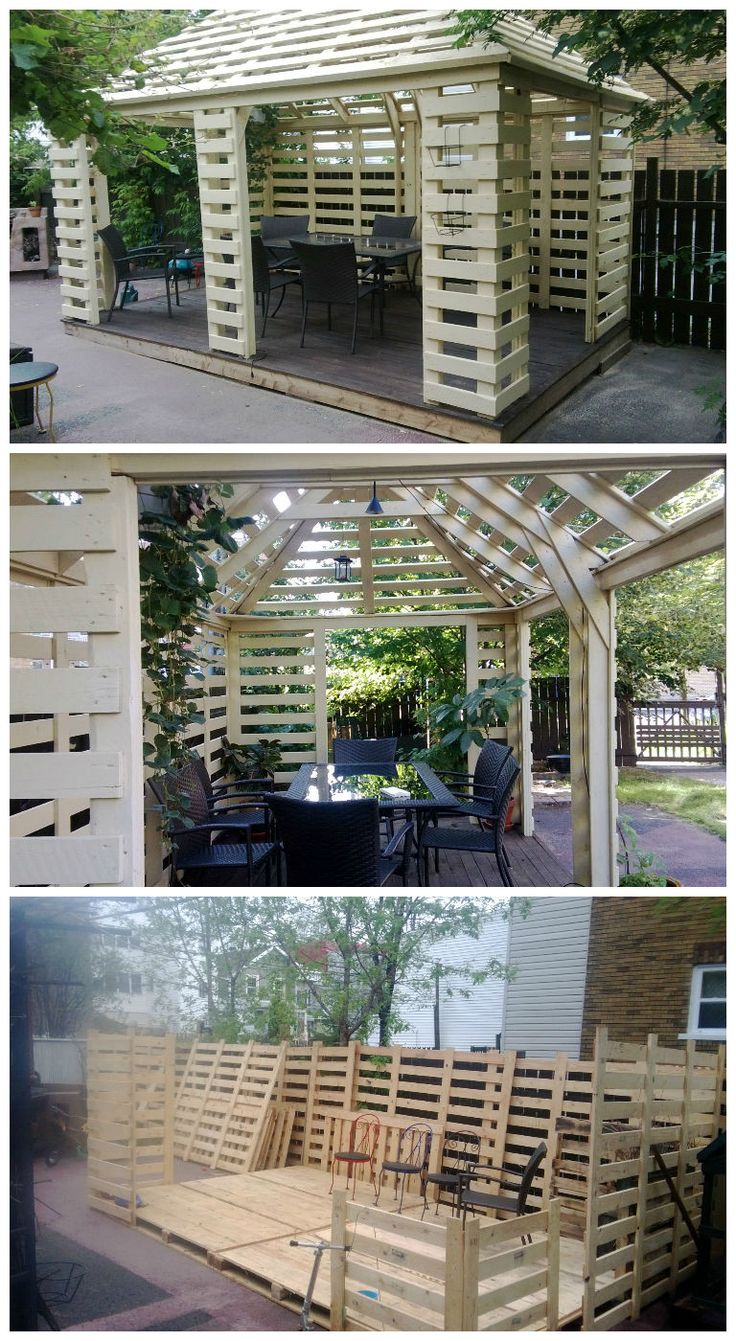 Complete pallet pavillon built with europallets.Really beautiful work ! not for beginners ! Idea sent by yves Cummings !…