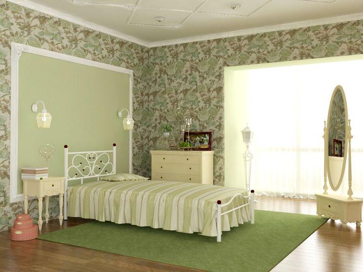 Металлическая односпальная кровать Эрика для спальни девочки или гостиницы. Metal single white bed for girls bedroom, girl small bedroom