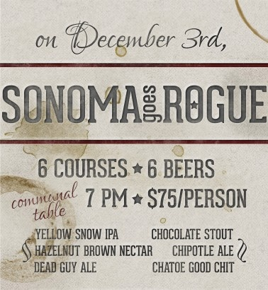 Sonoma in Pittsburgh, PA is Going Rogue on Dec 3, 2012 - 6 course meal paired with Rogue Ales