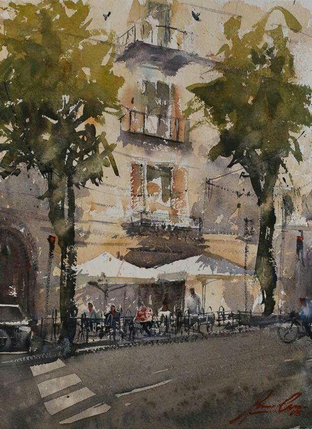 Bar ,via Brescia .Cremona watercolor