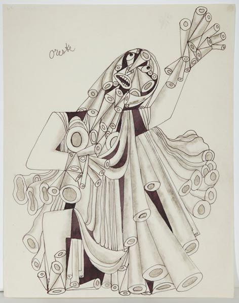 Jean Cocteau- Oreske [Un des 40 dessins orignaux utilisés pour le première édition du livre de Jean Cocteau «Opium. Journal d'une désintoxication»] , 1930