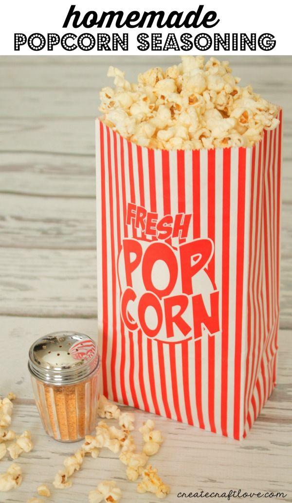 This Homemade Popcorn Seasoning will take plain old popcorn and turn it gourmet! via createcraftlove.com