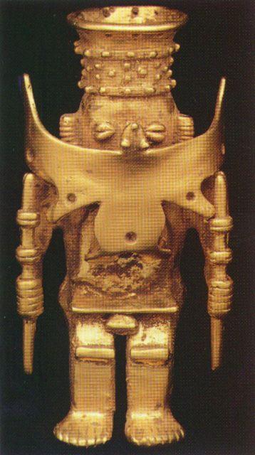 Gold Pendant of a Man in a Ceremonial Costume - FJ.6235 Origin: Calima Region of Colombia Circa: 800 AD to 1600 AD