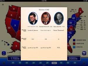This free app includes electoral data from every US election, and includes a colorful, crisp map that displays the distribution of electoral votes while providing information on the candidates in each presidential election.