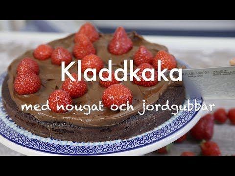Kladdkaka med nougat och jordgubbar | Tidningen Hembakat