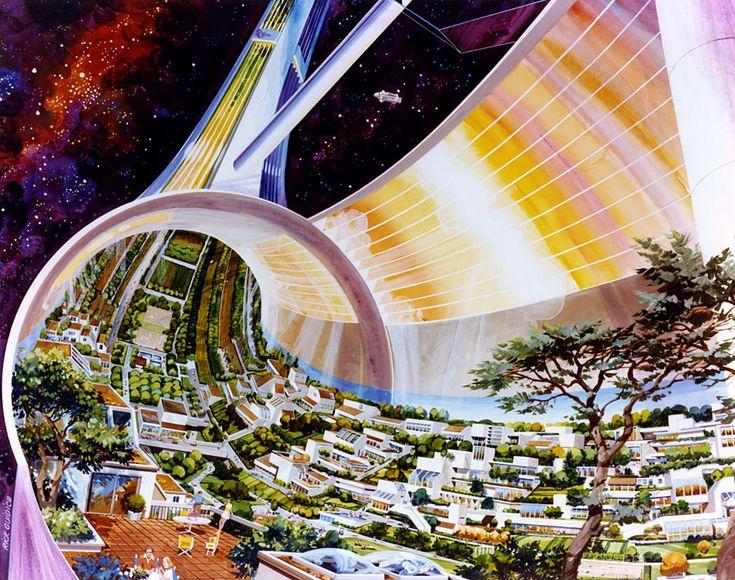 Concept art for a toroidal space habitat - Artist: Rick Guidice