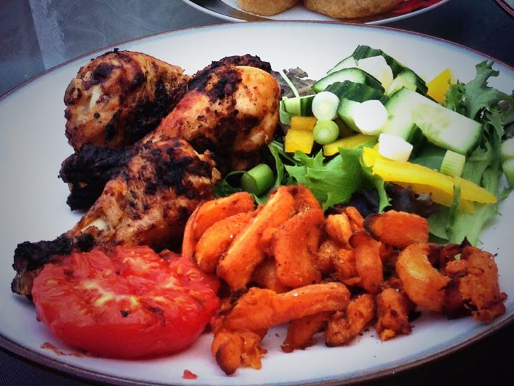 Nandos peri peri Rub Chicken, sweet potato fries and salad