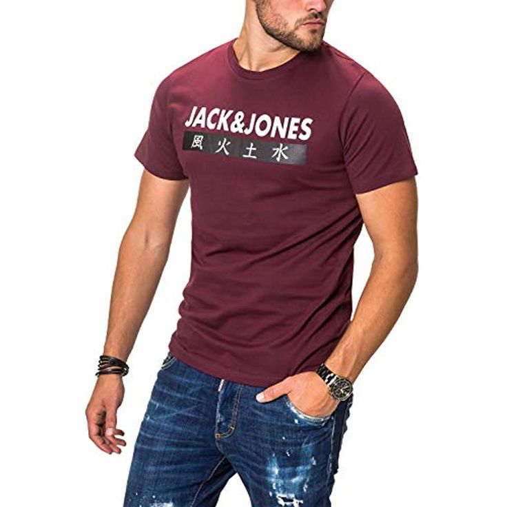 JACK JONES Herren T-Shirt Kurzarmshirt Top Print Shirt Casual Basic O-Neck #Bekl…