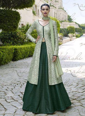 Nakkashi 11041 - Green Color Bhagalpuri Chiffon Designer Suit
