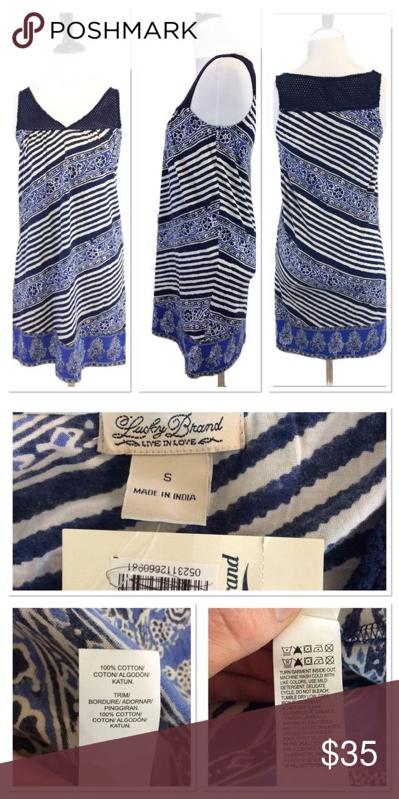 """S LUCKY BRAND blue striped beach dress Brand: Lucky Brand  Style: sleeveless beach dress Size: small  Approximate Measurements: pit to pit 15.5"""" shoulder to hem 33.25"""" Material: 100% cotton Features: crocheted knitting mixed with patterns  Condition: new with tags Lucky Brand Dresses"""