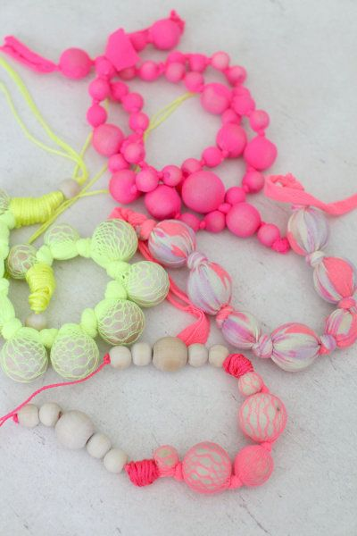 DIY Bauble Necklaces, use for teething baby