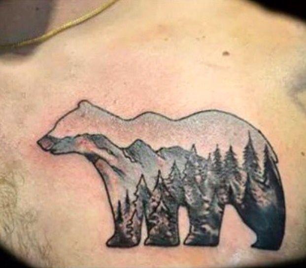 Polar bear mountain scene tattoo  Artist : adrienne haberl IG : @adriennehaberl