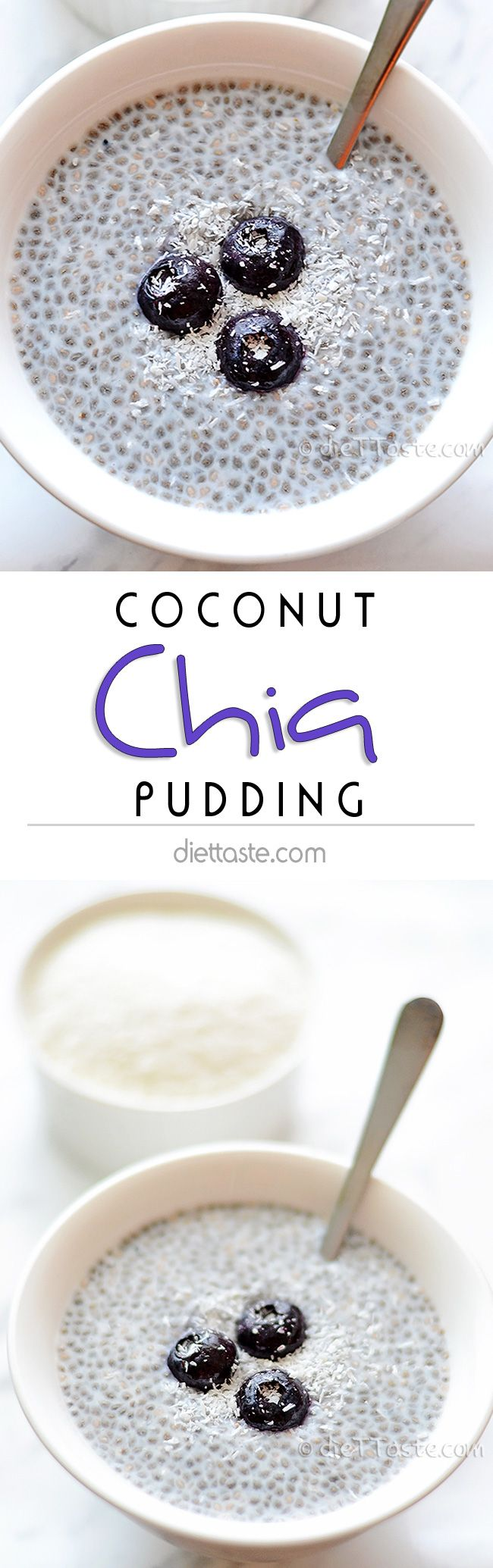Coconut Chia Seed Pudding - creamy breakfast superfood that tastes like dessert; super easy to prepare - diettaste.com