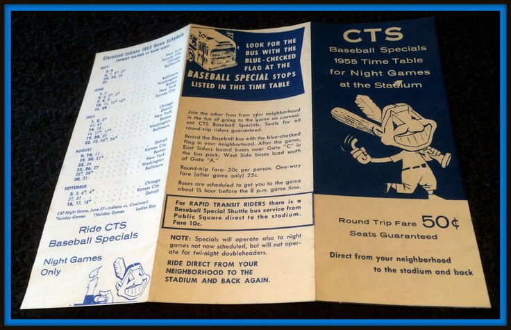 VINTAGE 1955 CLEVELAND INDIANS HOME SCHEDULE AND CTS BUS LINES SCHEDULES EX+  #Schedule