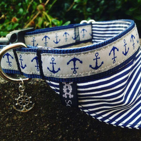 Hund: Halsbänder - Schossier Hund Halsband Halstuch Ankerliebe - ein Designerstück von Schossier-Hundemode bei DaWanda
