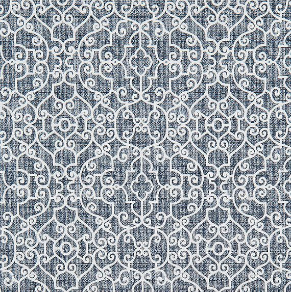 Indigo Blue Textured Stitch Fabric Designer Cotton Fabric By The Yard Curtain Fabric Drapery Fabric Upholstery