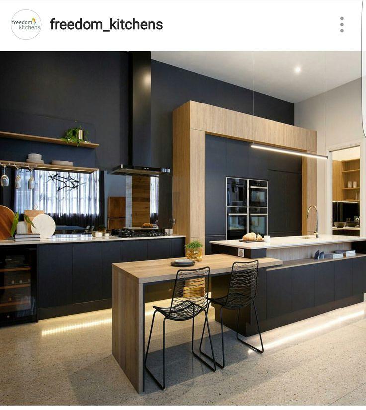 Matt black and timber kitchen