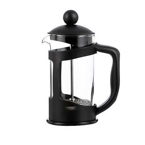 Home Collection Basics Black glass and plastic three cup cafetiere   Debenhams