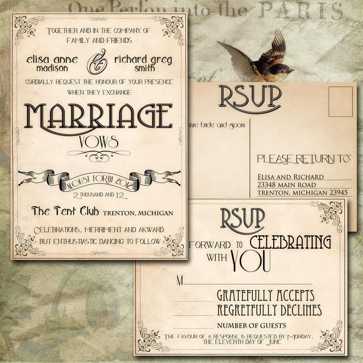 vintage postcard wedding invitations diy - 28 images - personalised ...