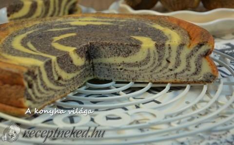 Túrós-mákos zebra torta recept fotóval