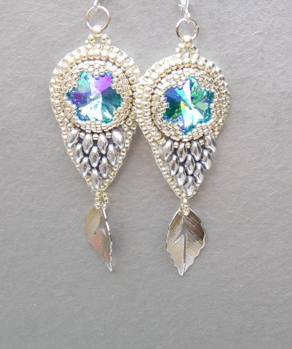 Bead embroidery, Earring, Seed bead jewelry,  Fashionable earring, Trending jewelry,  Swarovski,  Silver,  Wedding