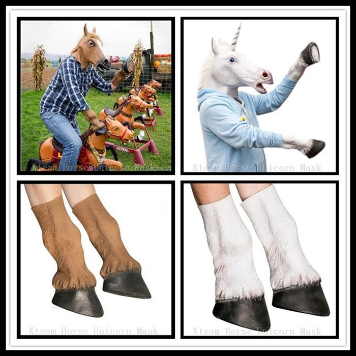 Halloween Party Cosplay Animal Full Head Horse Unocirn Mask with Gloves Latex Horse Head Mask with 1 Pair Horse Hooves Gloves