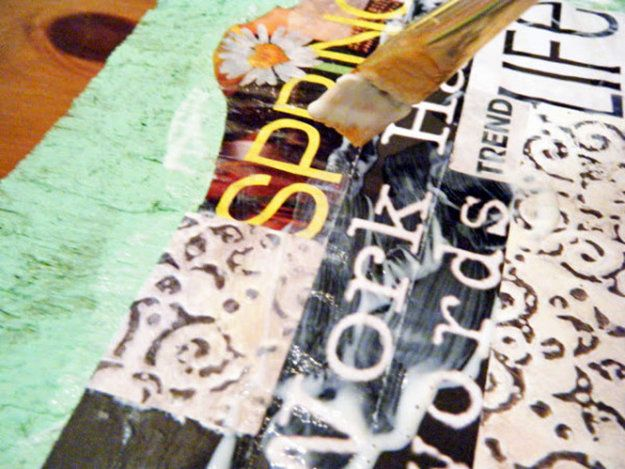 Craft kits for teens - small wood boards, scissors, mod podge & sponge brush with an old magazine to cut up.