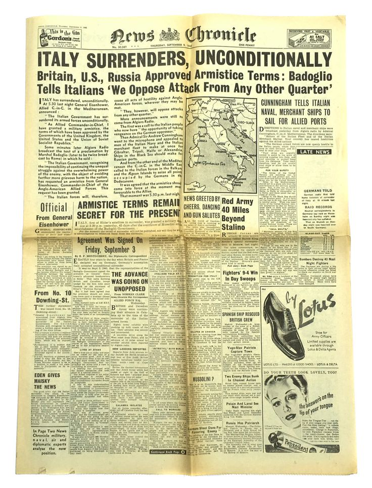 Italy Surrenders Unconditionally 1943 News Chronicle Russia Captures Stalino Antique Newspaper World War II Newspaper WWII Ephemera Military by BiminiCricket on Etsy