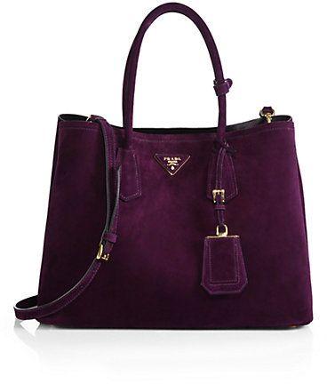 #PREFALL!  Prada Suede Double Bag in a sumptuous purple suede.  **faints**