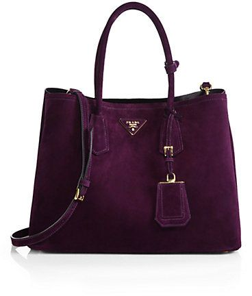 #PREFALL!  Prada Suede Double Bag in a sumptuous purple suede.  **faints**
