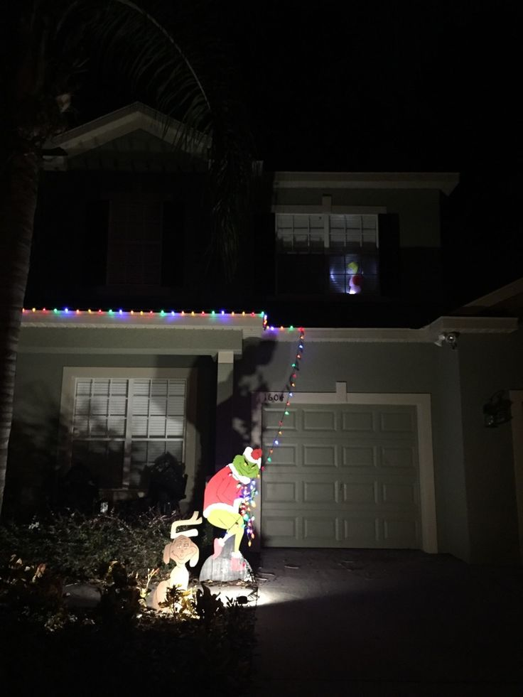 Clever way to be lazy with decorating the house in Xmas lights! #Grinch