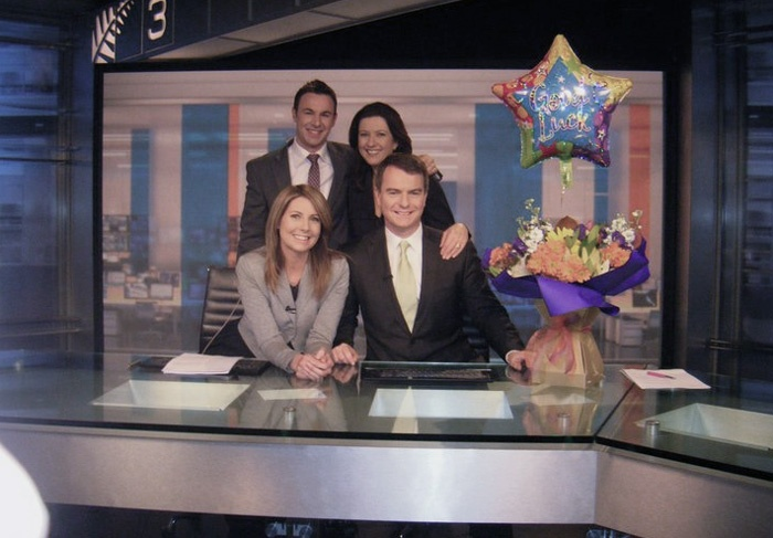 Alistair Wilkinson's last day on 3 News, surrounded by Carolyn Robinson, Josh Heslop and Michelle Pickles