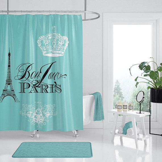 Paris France Teal Shower Curtain Chic French Crown Eiffel Etsy