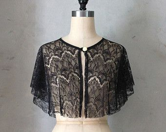 CHANTILLY - Draped black lace capelet topper // jacket // cape // vintage inspired // topper // cocktail party // shawl wrap // gatsby