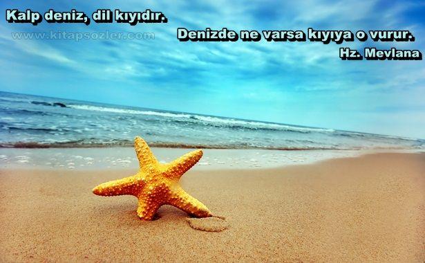Kalp deniz, dil kıyıdır. Denizde ne varsa kıyıya o vurur... Hz. Mevlana http://www.kitapsozler.com/hz-mevlana-resimli-sozleri/