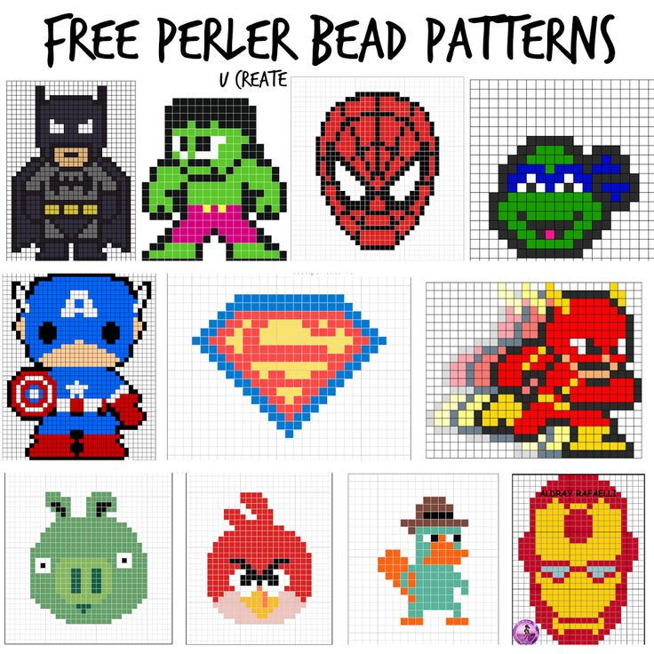 More funky perler bead patters that I think would also work as cross stitch patterns! :)